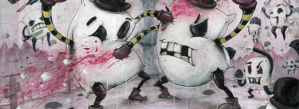 black and pink painting of characters in a pillow fight